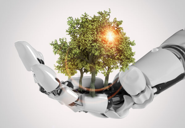 Robotic,Cyborg,Hand,,Nature,And,Technology,Abstract,Concept,,3d,Rendering